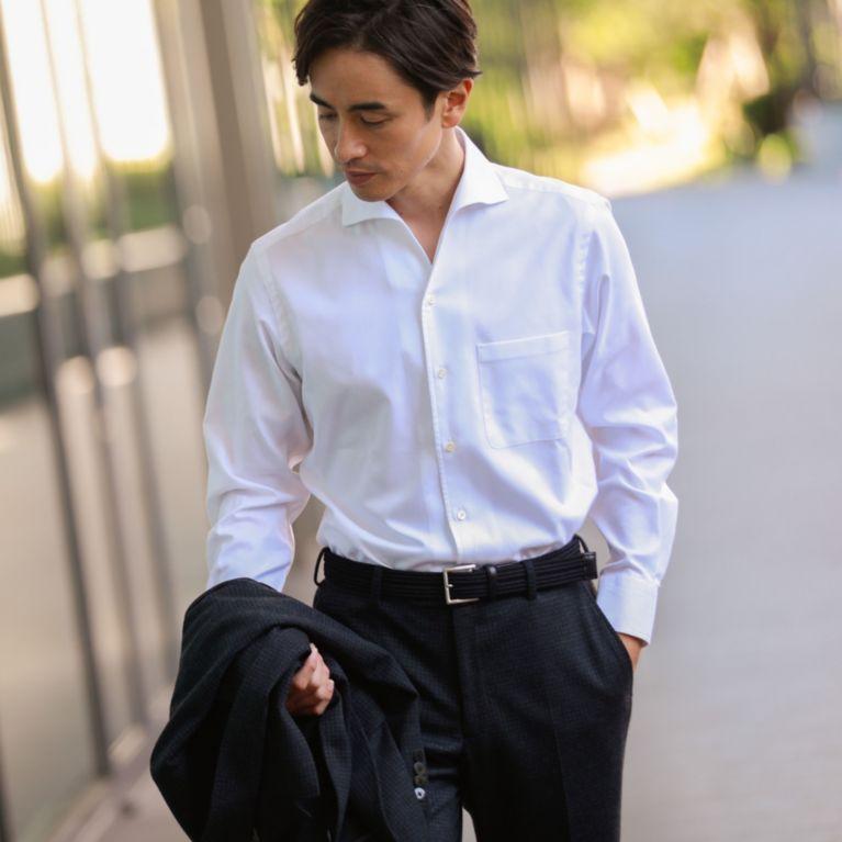 【ポール・スチュアート メン(Paul Stuart MEN)】 【STUART'S TRAVELER】イージーケアロイヤルオックスフォードシャツ/イタリアンカラー(形態安定) ホワイト