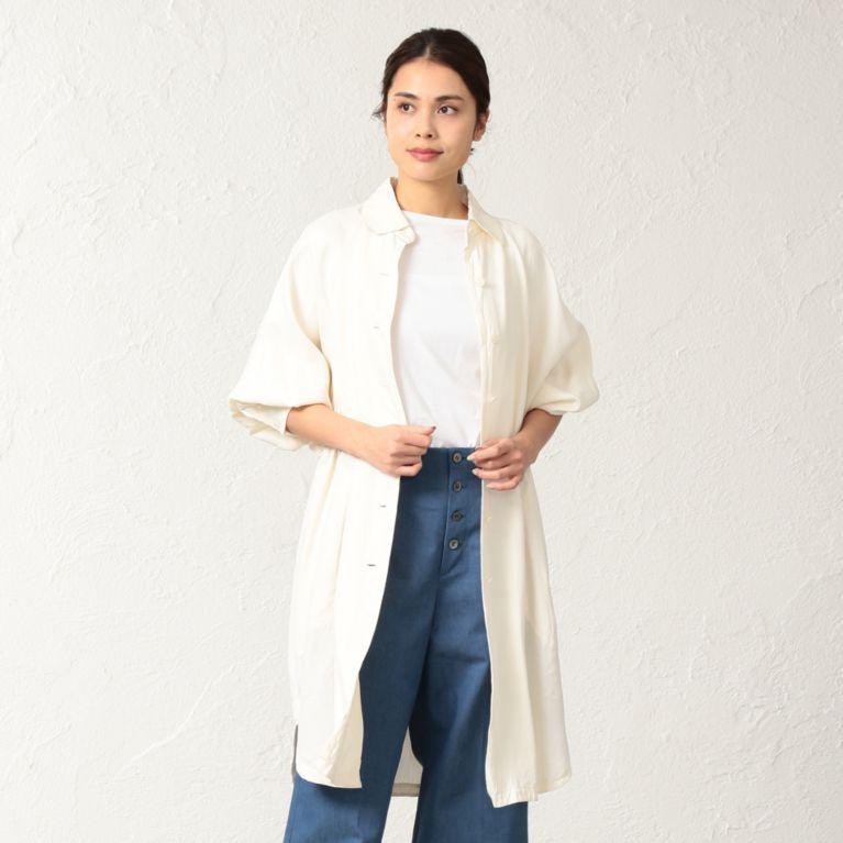 <BLUEFLAG>和紙キュプラツイルシャツコート オフホワイト【サンヨー コート ウィメン(SANYO COAT WOMEN)】