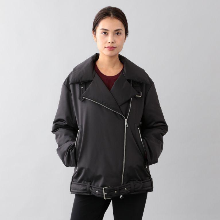 <BLUEFLAG>ライダースダウンジャケット ブラック【サンヨー コート ウィメン(SANYO COAT WOMEN)】