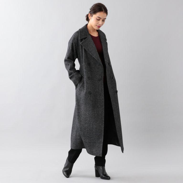 <BLUEFLAG>シェットランドツイードダブルブレストコート グレー【サンヨー コート ウィメン(SANYO COAT WOMEN)】