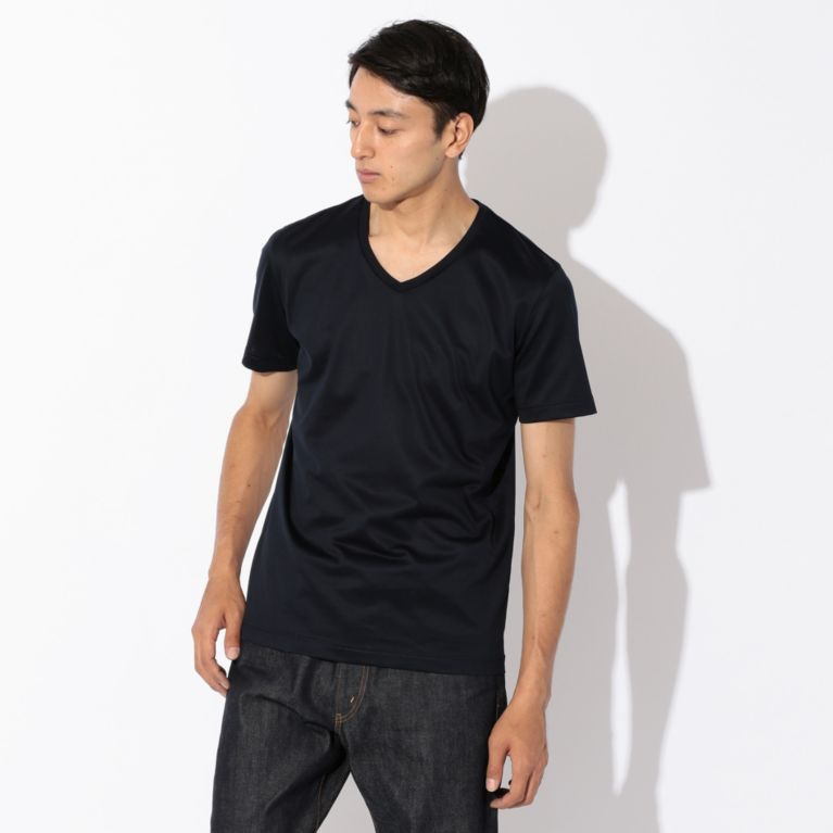 【SANYO ESSENTIALS サンヨー・エッセンシャルズ】 【MENS】2nd SKINシリーズ VネックTシャツ ネイビー