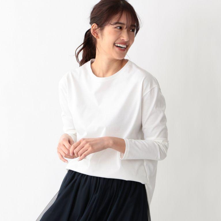 【S.ESSENTIALS】 ラウンドテールロングスリーブTシャツ ホワイト