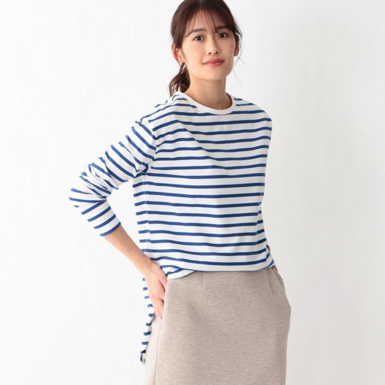 【S.ESSENTIALS】 ラウンドテールロングスリーブTシャツ ホワイト/ブルー