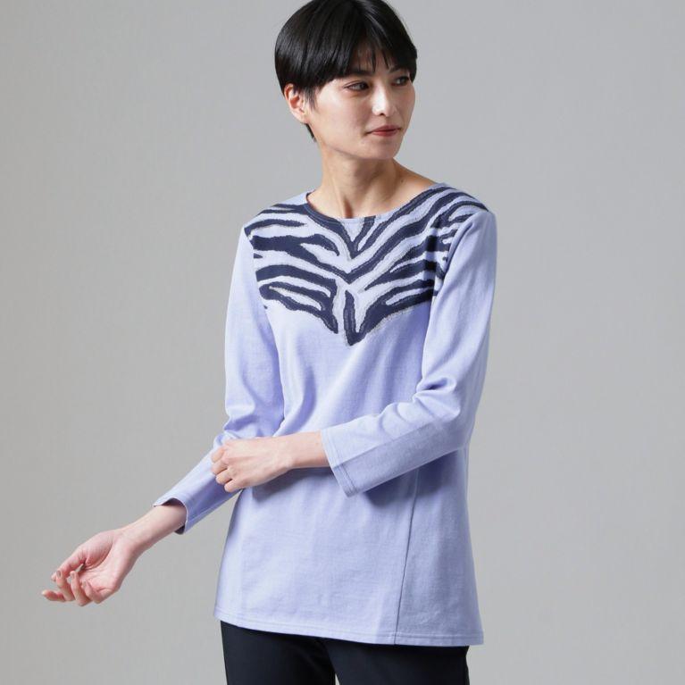 【EVEX by KRIZIA】 【ウォッシャブル】シャイニーゼブラジャカードカットソー ブルー