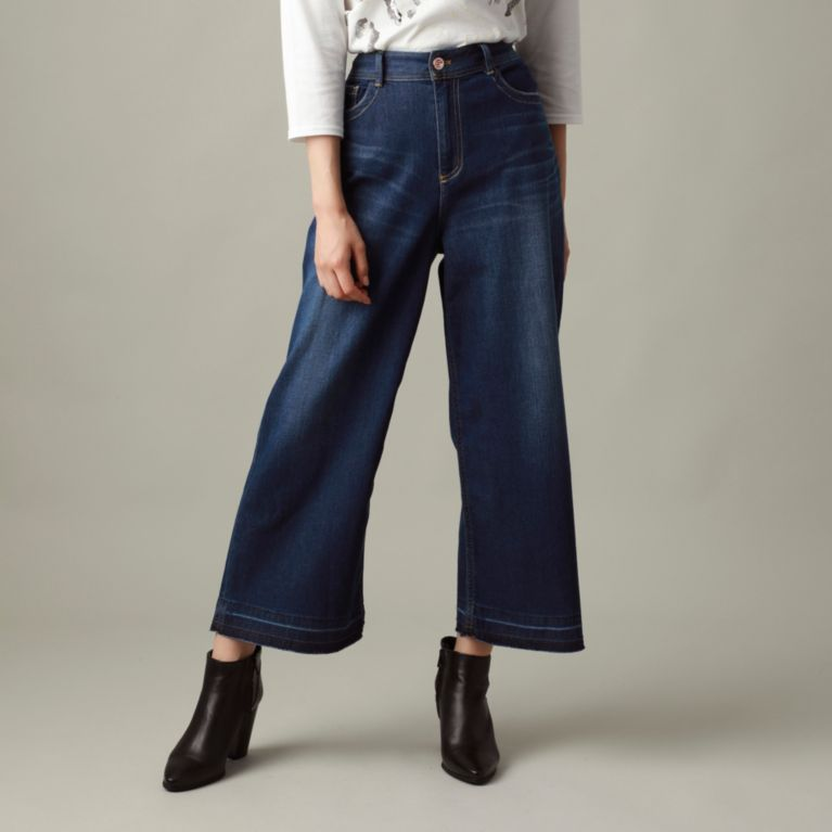 【ウォッシャブル】ホイップデニムワイドパンツ(evex jeans) ネイビー【エヴェックス バイ クリツィア(EVEX by KRIZIA)】