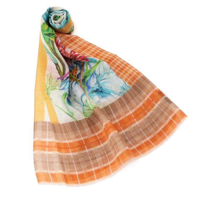 53%OFF!SALE<三陽商会>【アマカ(AMACA)】PANINI DUE フラワーチェックストール オレンジ 定価 16200円から 8640円値引!画像