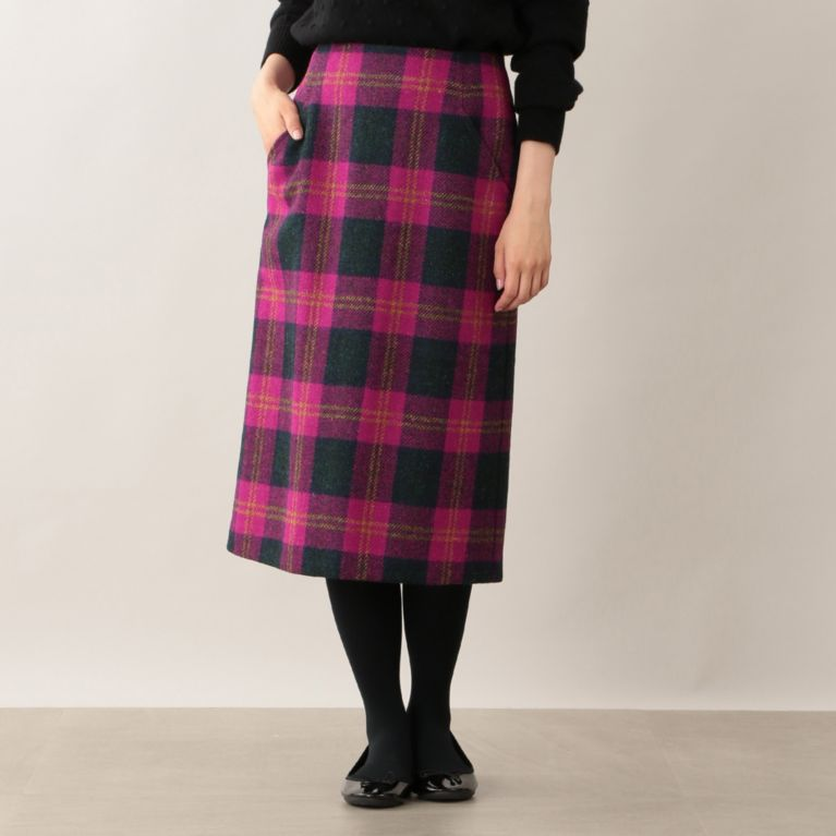 【MACKINTOSH PHILOSOPHY WOMEN】 ハリスツイードタイトスカート ピンク
