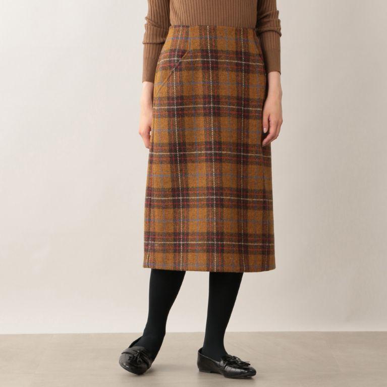 【MACKINTOSH PHILOSOPHY WOMEN】 ハリスツイードタイトスカート キャメル