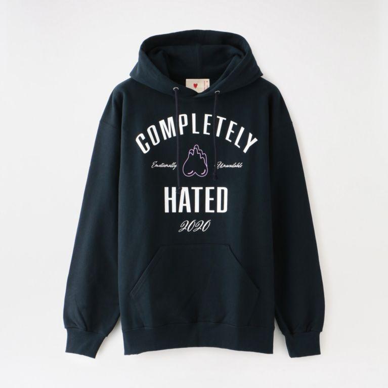 【LOVELESS】 【EMOTIONALLY UNAVAILABLE】MEN COMPLETELY HATED SWEAT HOODIE FW20-EU-024 ネイビー