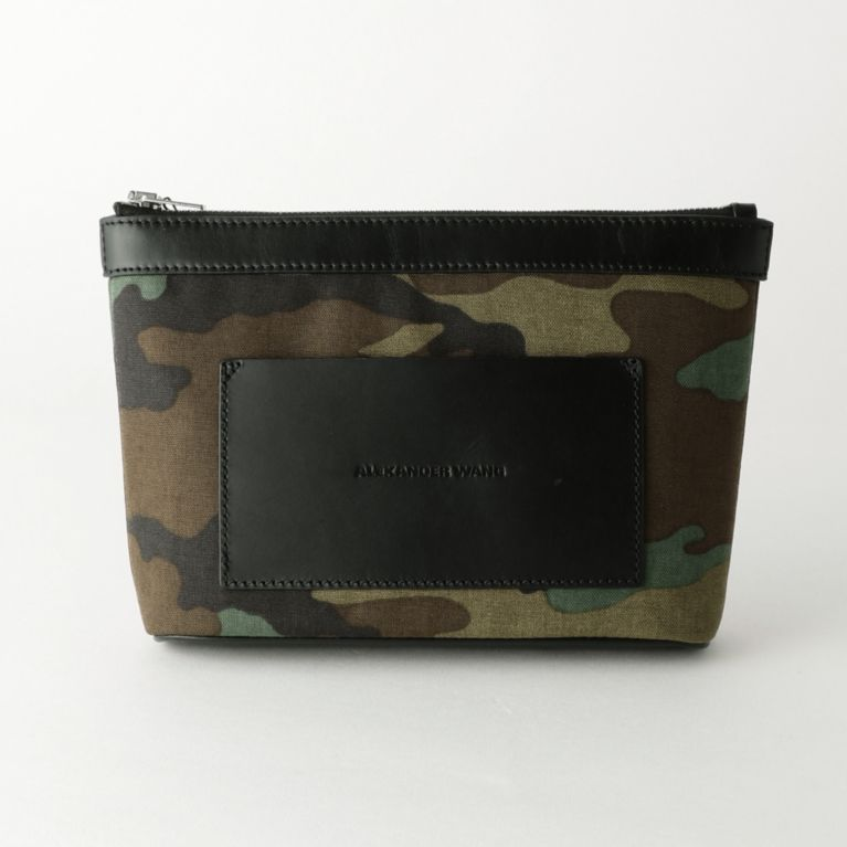 【GUILD PRIME ギルドプライム】 【ALEXANDER WANG】ポーチ-AW SM POUCH CAMO 7027P0024T- グリーン