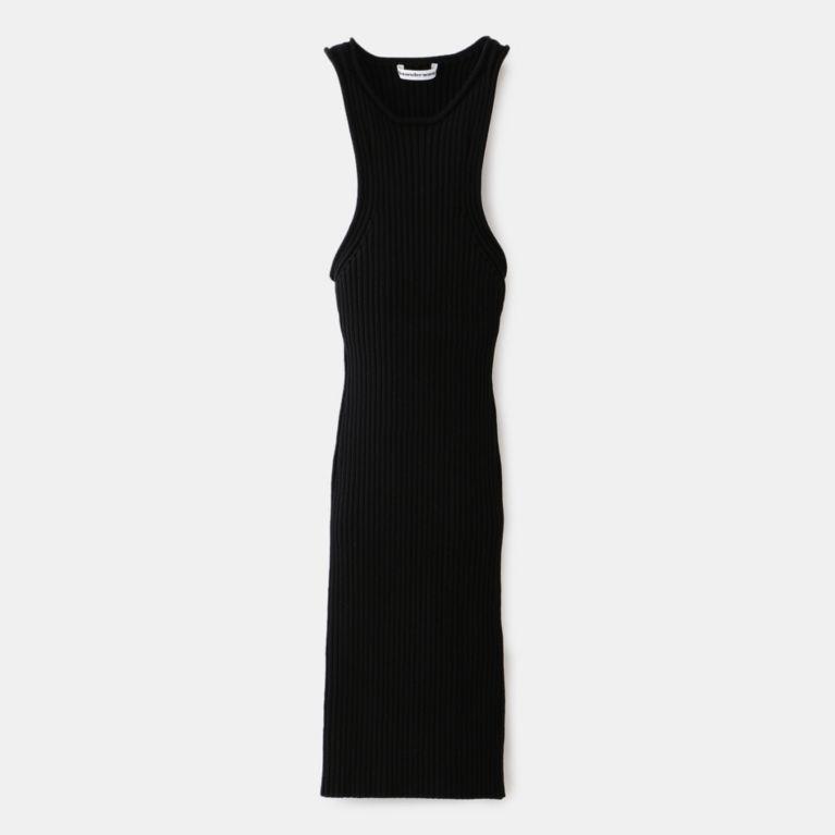 【LOVELESS】 【alexanderwang.t】WOMEN SHRUNKEN RIB TANK DRESS WITH BACK SLIT 4KC1206007 ブラック