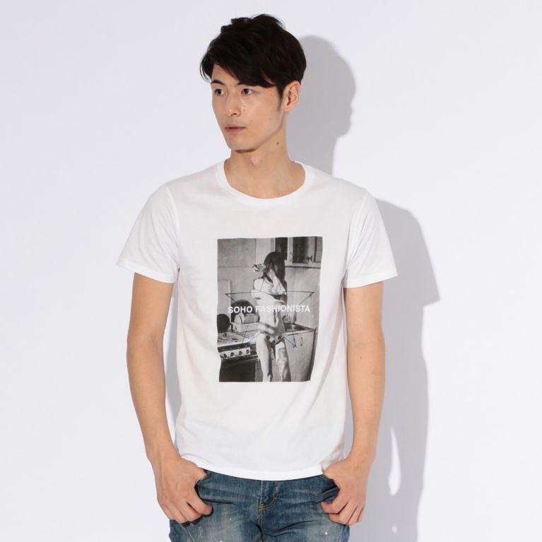 【GUILD PRIME ギルドプライム】 【WEB限定】【GUILD PRIME】MENS SOHOガールフォトTシャツ ホワイト