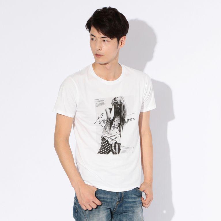 【GUILD PRIME ギルドプライム】 【WEB限定】【GUILD PRIME】MENS FREE DERECTIONフォトTシャツ ホワイト