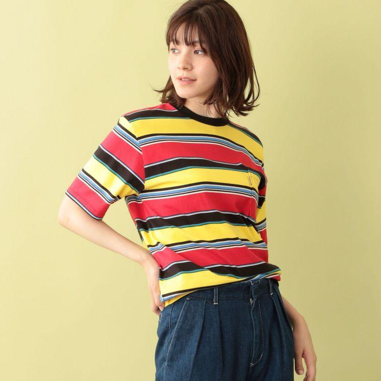 <三陽商会>【エムピー ストア(MP STORE)】【BLUE BLUE】ランダムボーダーTシャツ レッド