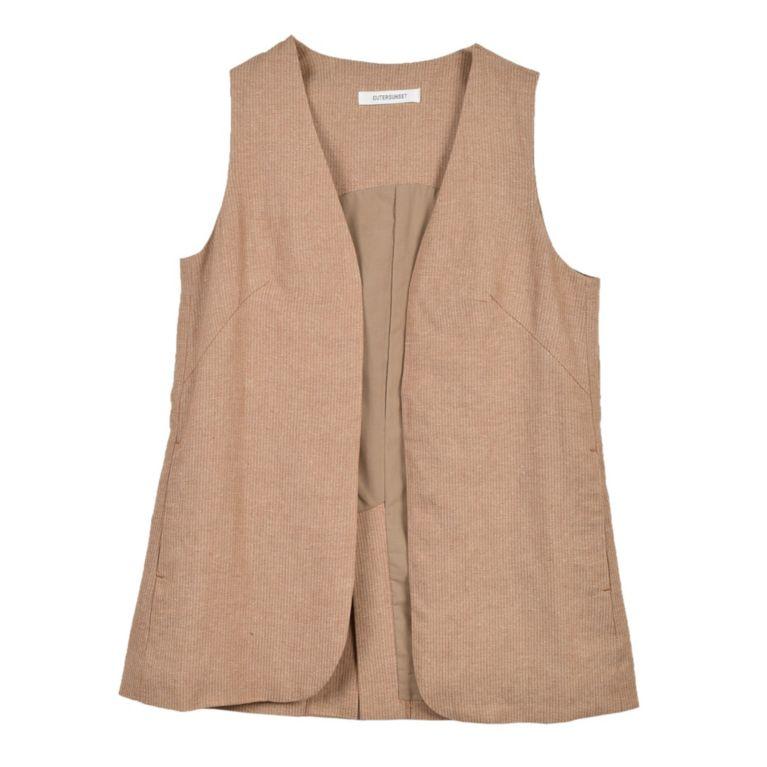 <三陽商会>【バイヤーズコレクション(BUYER'S COLLECTION)】【OUTER SUNSET】【期間限定販売】Linen stripe vest 詳細画像 BRW 1 Linen stripe vest 詳細画像 BRW 2 ベージュ系 送料無料!画像